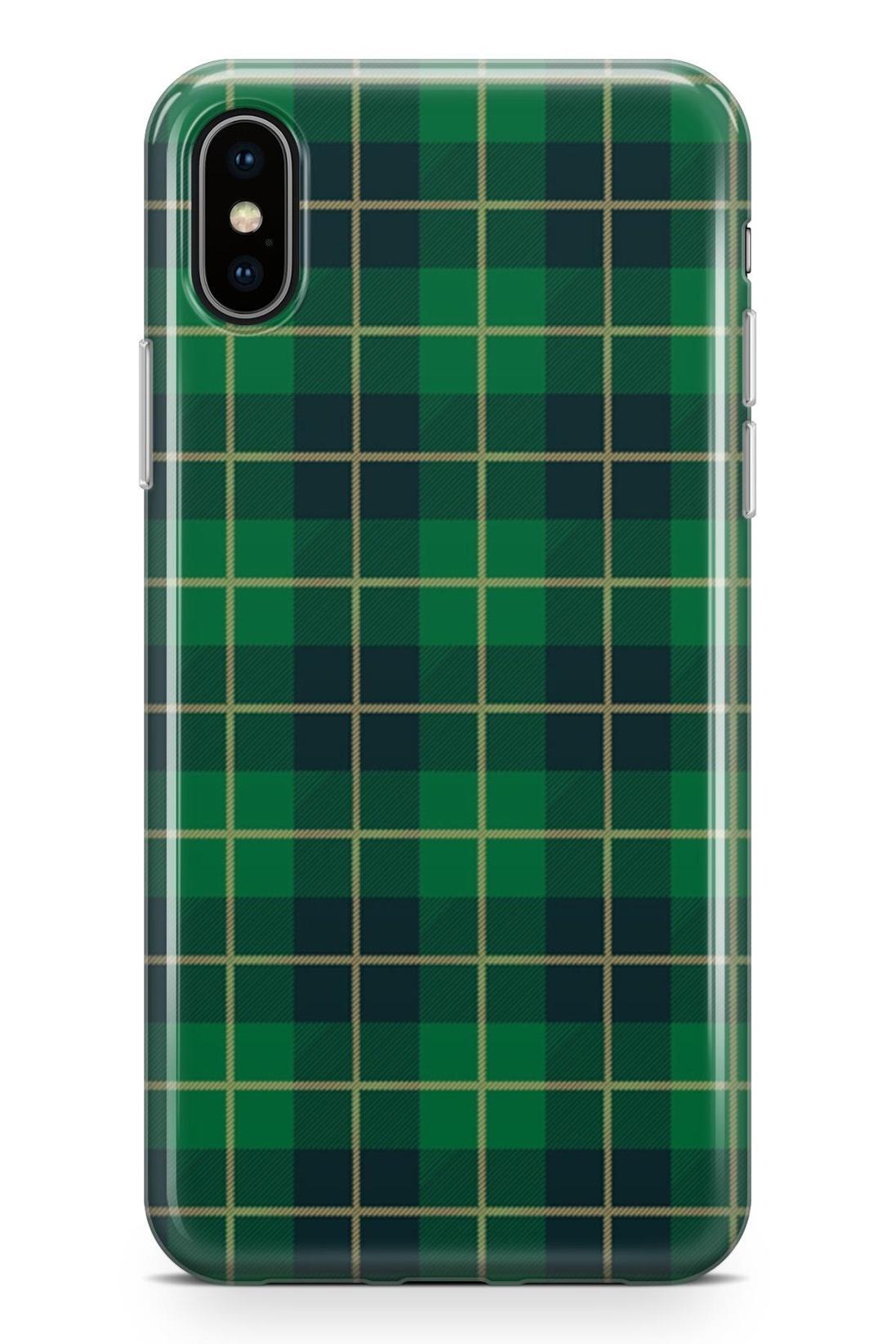 Standart Lopard Apple İphone Xs Max Kılıf Retro Kumaş Yeşil 2 Kapak